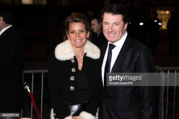 President of the Provence Alpes Cote d'Azur Region Christian Estrosi and his wife Laura Tenoudji a TV presenter attend the traditional dinner of the...