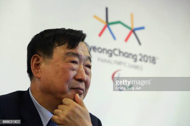 President of the PyeongChang Organizing Committee for the 2018 Olympic and Paralympic Winter Games Lee HeeBeom attends the appointed honorary...
