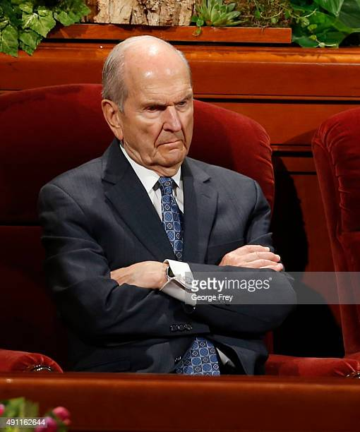 President of the Quorum of the Twelve Apostles of the Church of Jesus Christ of LatterDay Saints Russell Nelson waits for the start of the third...