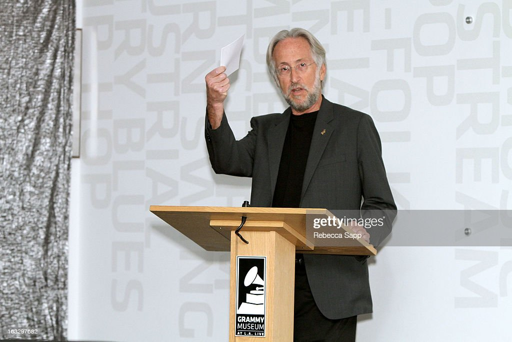 President of the Recording Academy <a gi-track='captionPersonalityLinkClicked' href=/galleries/search?phrase=Neil+Portnow&family=editorial&specificpeople=208909 ng-click='$event.stopPropagation()'>Neil Portnow</a> speaks at the Mike Curb Gallery Opening at The GRAMMY Museum on March 7, 2013 in Los Angeles, California.