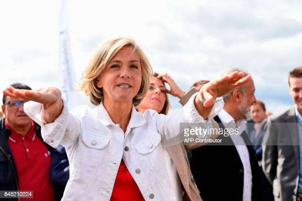 President of the region IledeFrance regional council Valerie Pecresse gestures during the launching of her new political movement 'Libres ' on...