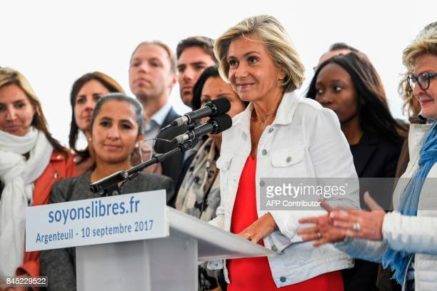 President of the region IledeFrance regional council Valerie Pecresse delivers a speech during the launching of her new political movement 'Libres '...