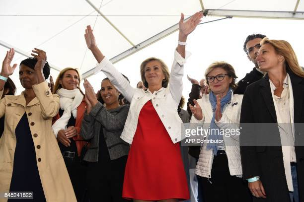 President of the region IledeFrance regional council Valerie Pecresse greets her supporters during the launching of her new political movement...
