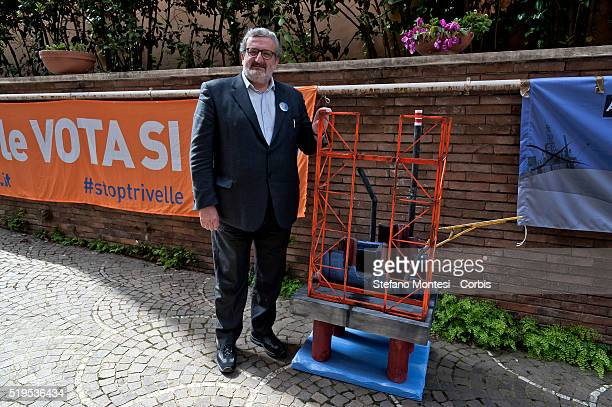 President of the Region of Puglia Michele Emiliano poses alongside a miniture model of an oil rig during a press conference which he affirmed his...