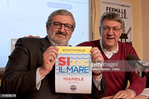 President of the Region of Puglia Michele Emiliano poses alongside General Secretary of the FIOM Maurizio Landini during a press conference in which...