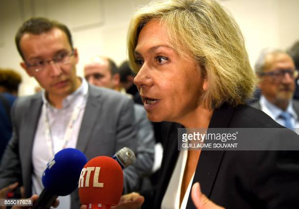 President of the Regional Council of the IledeFrance region Valerie Pecresse speaks to the press after the prime minister's speech during the opening...