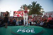 President of the regional Government of Andalucia Susana Diaz delivers a speech during the party's final campaign meeting in Sevilla on June 24 2016...