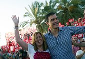 President of the regional Government of Andalucia Susana Diaz waves past leader of Spanish Socialist Party and party candidate Pedro Sanchez prior to...