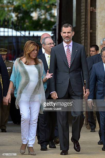 President of the regional government of Andalusia Susana Diaz and King Felipe VI of Spainentering the Real Maestranza of Seville before the delivers...