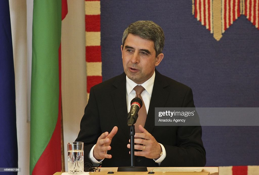 President of the Republic of Bulgaria <a gi-track='captionPersonalityLinkClicked' href=/galleries/search?phrase=Rosen+Plevneliev&family=editorial&specificpeople=6873737 ng-click='$event.stopPropagation()'>Rosen Plevneliev</a> meets with Croatian President Kolinda Grabar-Kitarovic (not seen) in Zagreb capital of Croatia on April 14, 2015.