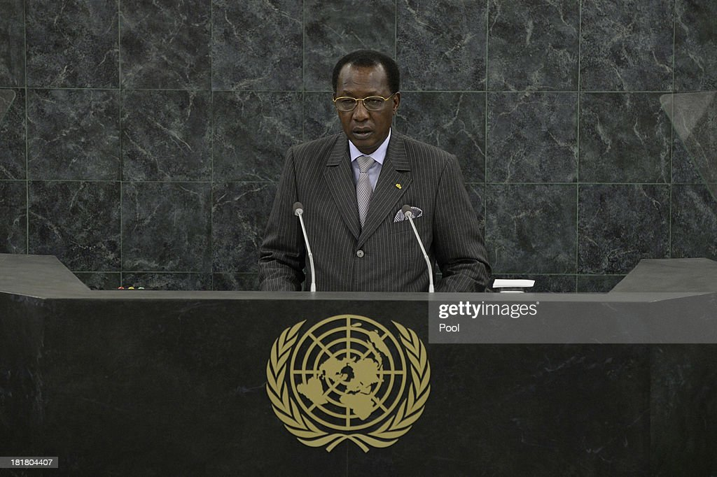 President of the Republic of Chad <a gi-track='captionPersonalityLinkClicked' href=/galleries/search?phrase=Idriss+Deby&family=editorial&specificpeople=4605749 ng-click='$event.stopPropagation()'>Idriss Deby</a> Itno addresses the 68th session of the General Assembly at United Nations headquarters on September 25, 2013 in New York City. Over 120 prime ministers, presidents and monarchs are gathering this week for the annual meeting at the temporary General Assembly Hall at the U.N. headquarters while the General Assembly Building is closed for renovations.