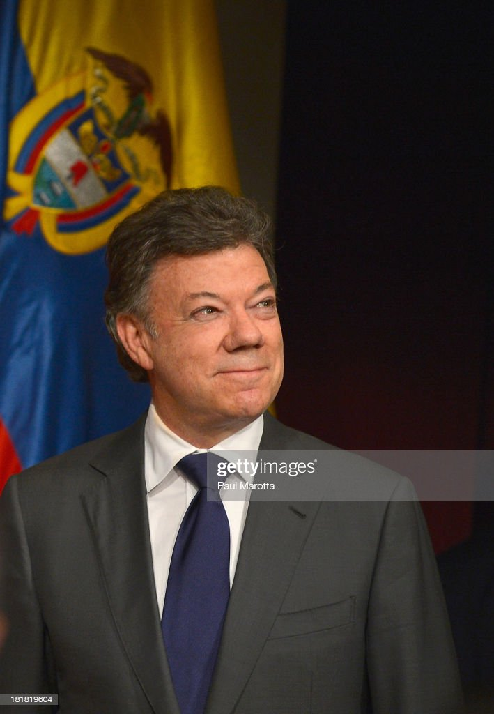 President of the Republic of Colombia, <a gi-track='captionPersonalityLinkClicked' href=/galleries/search?phrase=Juan+Manuel+Santos&family=editorial&specificpeople=974752 ng-click='$event.stopPropagation()'>Juan Manuel Santos</a> Calderon, speaks at the Harvard University JFK School of Government John F. Kennedy Jr. Forum Institute of Politics on September 25, 2013 in Boston, Massachusetts.