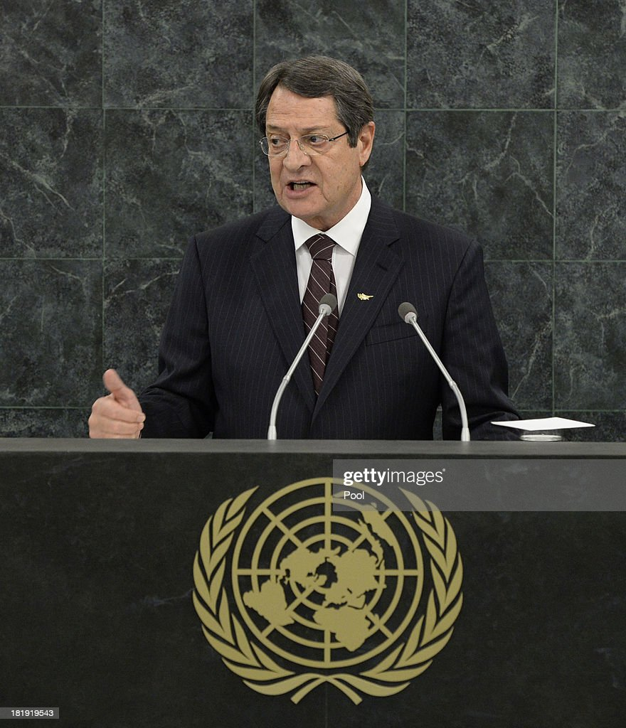 President of the Republic of Cyprus <a gi-track='captionPersonalityLinkClicked' href=/galleries/search?phrase=Nicos+Anastasiades&family=editorial&specificpeople=10113933 ng-click='$event.stopPropagation()'>Nicos Anastasiades</a> addresses the 68th United Nations General Assembly at U.N. headquarters on September 26, 2013 in New York City. Over 120 prime ministers, presidents and monarchs are gathering this week for the annual meeting at the temporary General Assembly Hall at the U.N. headquarters while the General Assembly Building is closed for renovations.