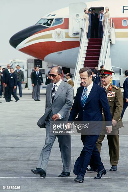 President of the Republic of Egypt Anwar Al Sadat is welcomed by Syrian President Hafez elAssad upon his arrival at the airport of Damas