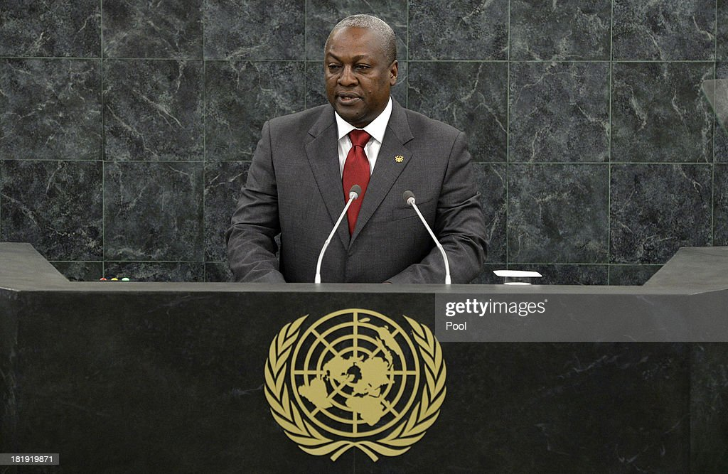 President of the Republic of Ghana <a gi-track='captionPersonalityLinkClicked' href=/galleries/search?phrase=John+Dramani+Mahama&family=editorial&specificpeople=6829053 ng-click='$event.stopPropagation()'>John Dramani Mahama</a> addresses the 68th United Nations General Assembly at U.N. headquarters on September 26, 2013 in New York City. Over 120 prime ministers, presidents and monarchs are gathering this week for the annual meeting at the temporary General Assembly Hall at the U.N. headquarters while the General Assembly Building is closed for renovations.