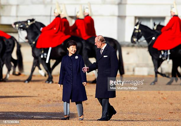 President of the Republic of Korea Park Geunhye and Prince Philip Duke of Edinburgh attend the Ceremonial Welcome for The President at Horse Guards...