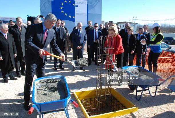 President of the Republic of Kosovo Hashim Thaci and the PM of the Republic of Kosovo Isa Mustafa attends the ceremony of the cornerstone of...