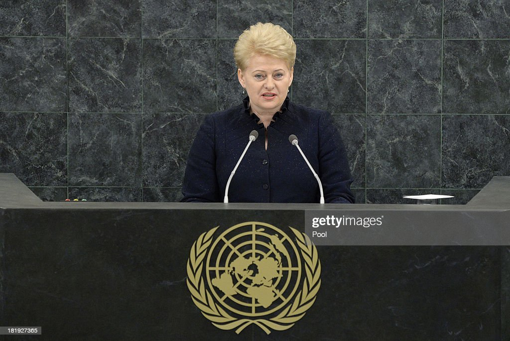 President of the Republic of Lithuania Dalia Grybauskaite addresses the 68th United Nations General Assembly at U.N. headquarters in New York on September 26, 2013 in New York City. Over 120 prime ministers, presidents and monarchs are gathering this week for the annual meeting at the temporary General Assembly Hall at the U.N. headquarters while the General Assembly Building is closed for renovations.