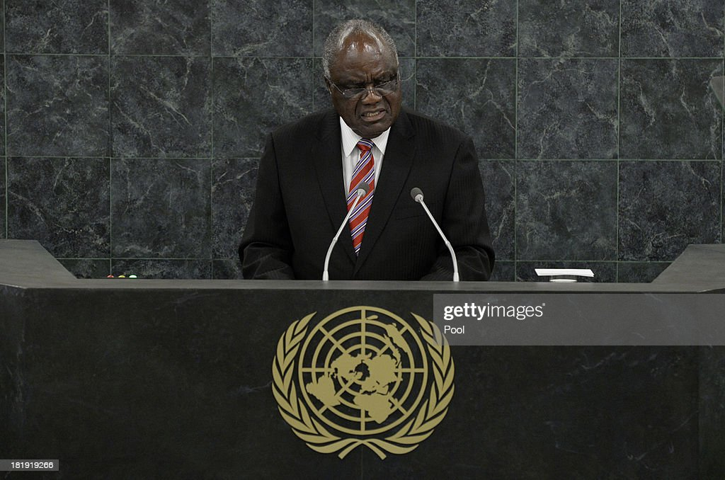 President of the Republic of Namibia <a gi-track='captionPersonalityLinkClicked' href=/galleries/search?phrase=Hifikepunye+Pohamba&family=editorial&specificpeople=863215 ng-click='$event.stopPropagation()'>Hifikepunye Pohamba</a> addresses the 68th United Nations General Assembly at U.N. headquarters on September 26, 2013 in New York City. Over 120 prime ministers, presidents and monarchs are gathering this week for the annual meeting at the temporary General Assembly Hall at the U.N. headquarters while the General Assembly Building is closed for renovations.