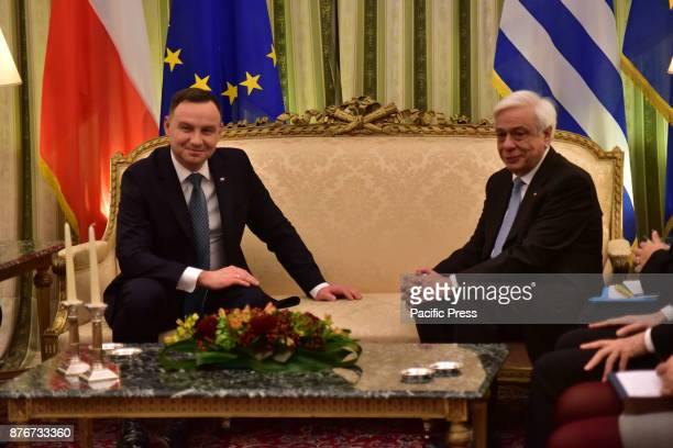 MANSION ATHENS ATTIKI GREECE President of the Republic of Poland Andrzej Duda and President of Hellenic Republic Prokopis Pavlopoulos during their...