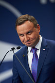 President of the Republic of Poland Andrzej Duda attends the press conference during the NATO Warsaw Summit on July 9 2016 in Warsaw Poland World...