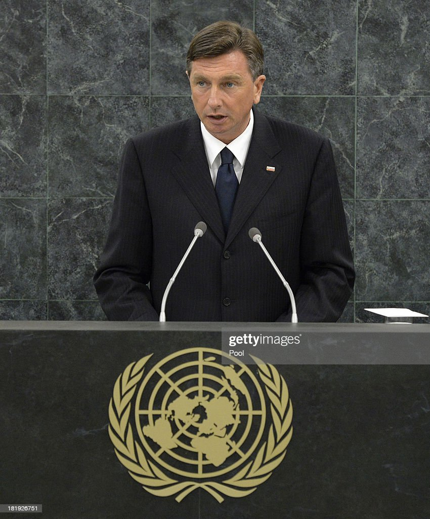President of the Republic of Slovenia <a gi-track='captionPersonalityLinkClicked' href=/galleries/search?phrase=Borut+Pahor&family=editorial&specificpeople=2476171 ng-click='$event.stopPropagation()'>Borut Pahor</a> addresses the 68th United Nations General Assembly at U.N. headquarters on September 26, 2013 in New York City. Over 120 prime ministers, presidents and monarchs are gathering this week for the annual meeting at the temporary General Assembly Hall at the U.N. headquarters while the General Assembly Building is closed for renovations.