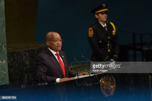 President of The Republic of South Africa Jacob Zuma addresses the UN General Assembly at the United Nations on September 20 2017 in New York New...