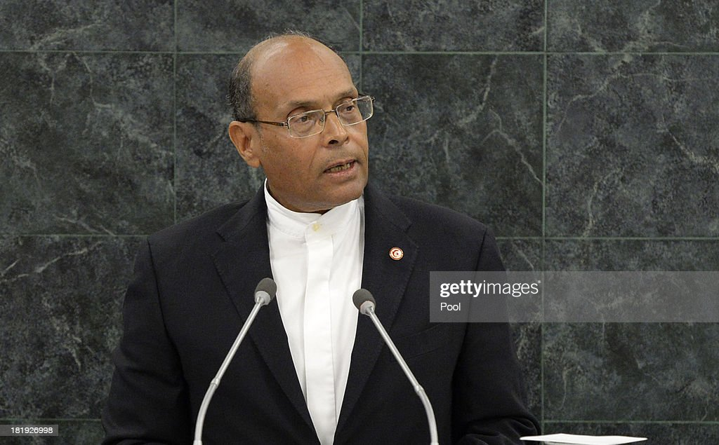 President of the Republic of Tunisia Mohamed <a gi-track='captionPersonalityLinkClicked' href=/galleries/search?phrase=Moncef+Marzouki&family=editorial&specificpeople=2893986 ng-click='$event.stopPropagation()'>Moncef Marzouki</a> addresses the 68th United Nations General Assembly at U.N. headquarters on September 26, 2013 in New York City. Over 120 prime ministers, presidents and monarchs are gathering this week for the annual meeting at the temporary General Assembly Hall at the U.N. headquarters while the General Assembly Building is closed for renovations.