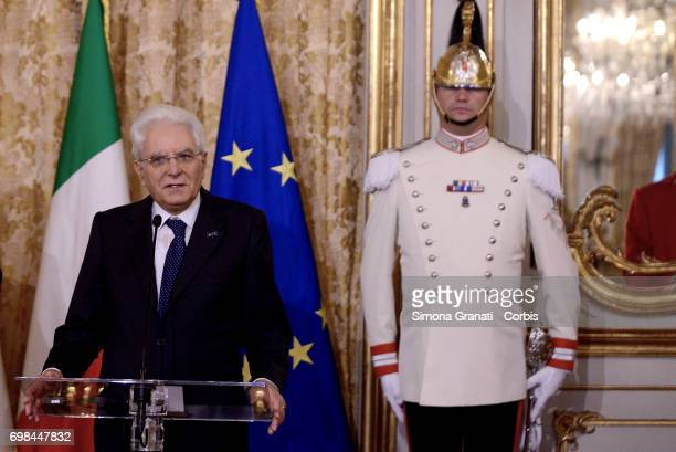 President of the Republic Sergio Mattarella at the Quirinaleduring the visit of the Royals of Netherlands on June 20 2017 in Rome Italy