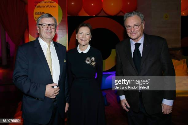 President of the Ricard Foundation Philippe Savinel Daniele Ricard and artist Gerard Garouste attend the 'Bal Jaune Elastique 2017' Dinner Party at...