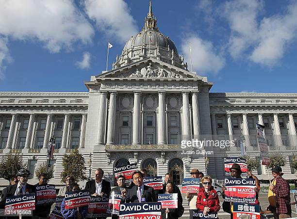 President of the San Francisco Board of Supervisors and candidate for Mayor David Chiu speaks to supporters in front of San Francisco City Hall on...