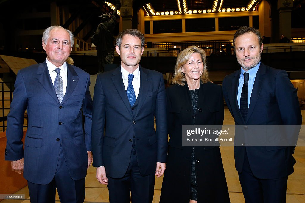 President of the 'Societe des Amis du Musee D'Orsay' Jean-Louis Milin, Philippe Mugnier, <a gi-track='captionPersonalityLinkClicked' href=/galleries/search?phrase=Claire+Chazal&family=editorial&specificpeople=240566 ng-click='$event.stopPropagation()'>Claire Chazal</a> and <a gi-track='captionPersonalityLinkClicked' href=/galleries/search?phrase=Olivier+Bialobos&family=editorial&specificpeople=758680 ng-click='$event.stopPropagation()'>Olivier Bialobos</a> attend the 'Societe des Amis du Musee D'Orsay' : Dinner Party at Musee d'Orsay on March 23, 2015 in Paris, France.