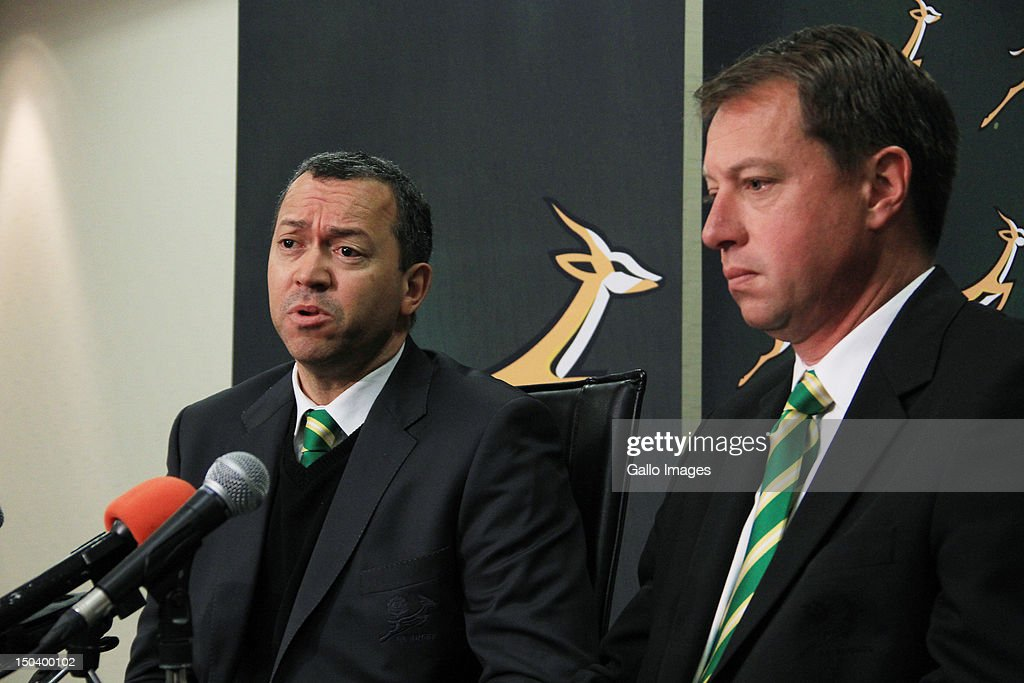 President of the South African Rugby Union (SARU) Oregan Hoskins and Chief Executive of the SARU Jurie Roux attend a media briefing at Southern Sun Newlands on August 16, 2012 in Cape Town, South Africa. The briefing is held to announce the inclusion of the Southern Kings and the exclusion of the MTN Lions within the Vodacom Super Rugby competition.