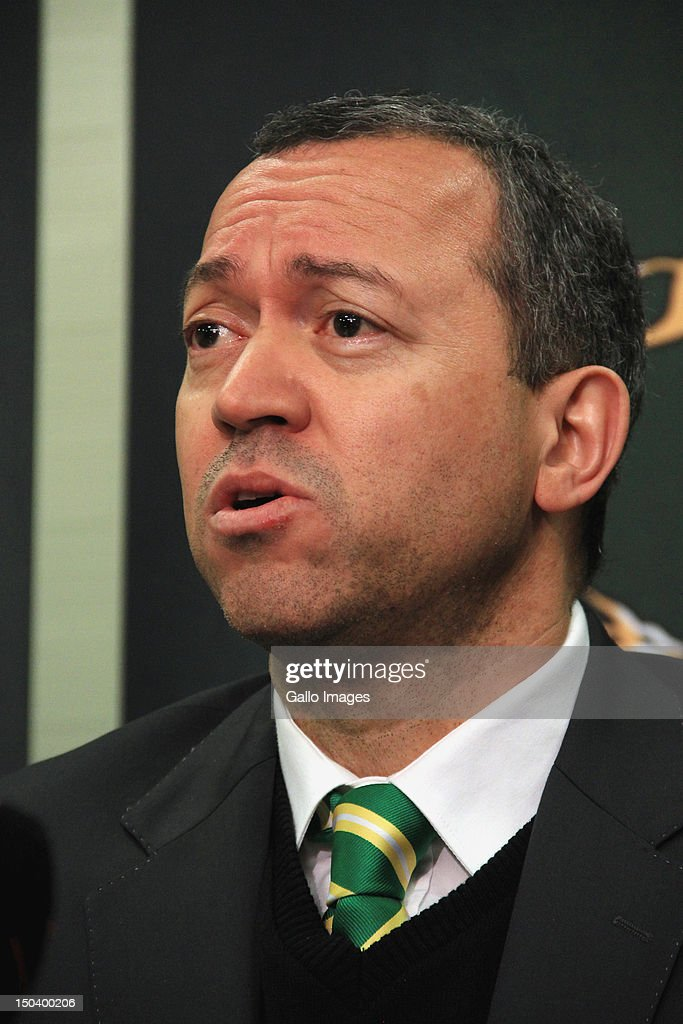 President of the South African Rugby Union (SARU) Oregan Hoskins attends a media briefing at Southern Sun Newlands on August 16, 2012 in Cape Town, South Africa. The briefing is held to announce the inclusion of the Southern Kings and the exclusion of the MTN Lions within the Vodacom Super Rugby competition.