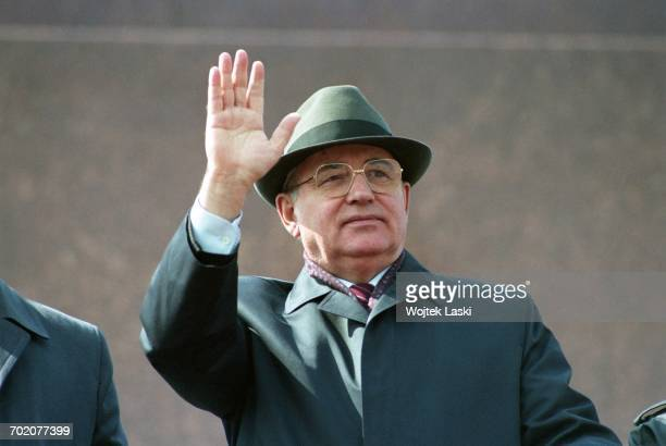 President of the Soviet Union Mikhail Gorbachev during the May 1st parade on the Red Square in Moscow Russia on 1st May 1991