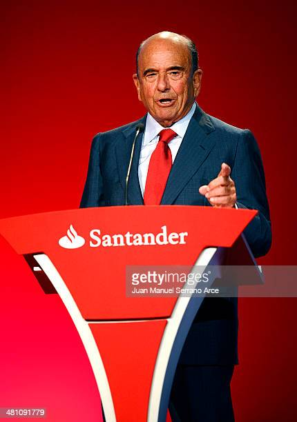 President of the Spanish bank Banco Santander Emilio Botin speaks during the annual shareholders meeting at the Palacio Exposiciones on March 28 2014...
