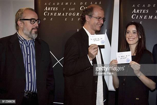 President of the Spanish Cinema Academy Alex de la iglesia director Juan Carlos Rulfo and actress Pilar Lopez de Ayala attend the unveiling of the...