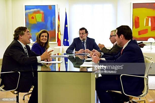 President of the Spanish Confederation of small and mediumsized enterprises Antonio Garamendi General Union of Workers' president Candido Mendez...