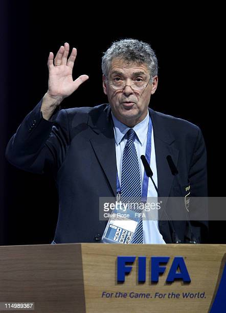President of the Spanish Football Association Angel Maria Villar Llona addresses the delegates during the 61st FIFA Congress at Hallenstadion on June...