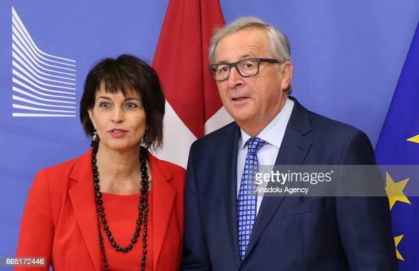 President of the Swiss Confederation Doris Leuthard and European Union Commission President Jean Claude Juncker pose for a photo during their meeting...