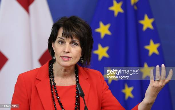 President of the Swiss Confederation Doris Leuthard attends a press conference with European Union Commission President Jean Claude Juncker after a...