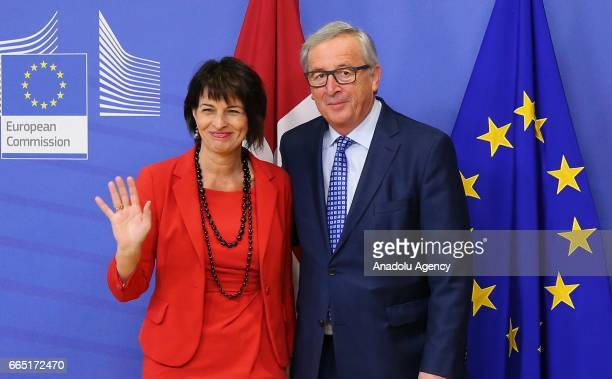 President of the Swiss Confederation Doris Leuthard meets with European Union Commission President Jean Claude Juncker in Brussels Belgium on April 6...
