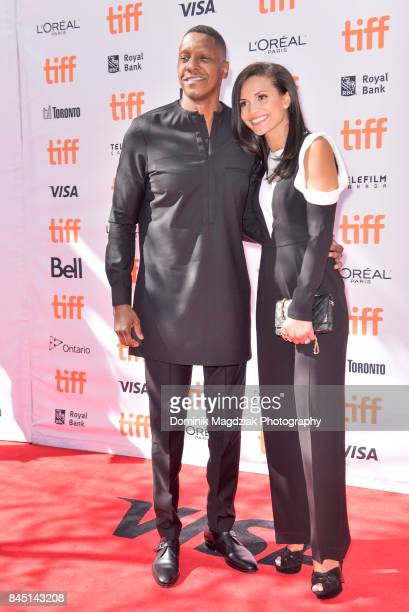 President of the Toronto Raptors Masai Ujiri and wife Ramatu Ujiri attend 'The Carter Effect' premiere at Princess of Wales Theatre on September 9...