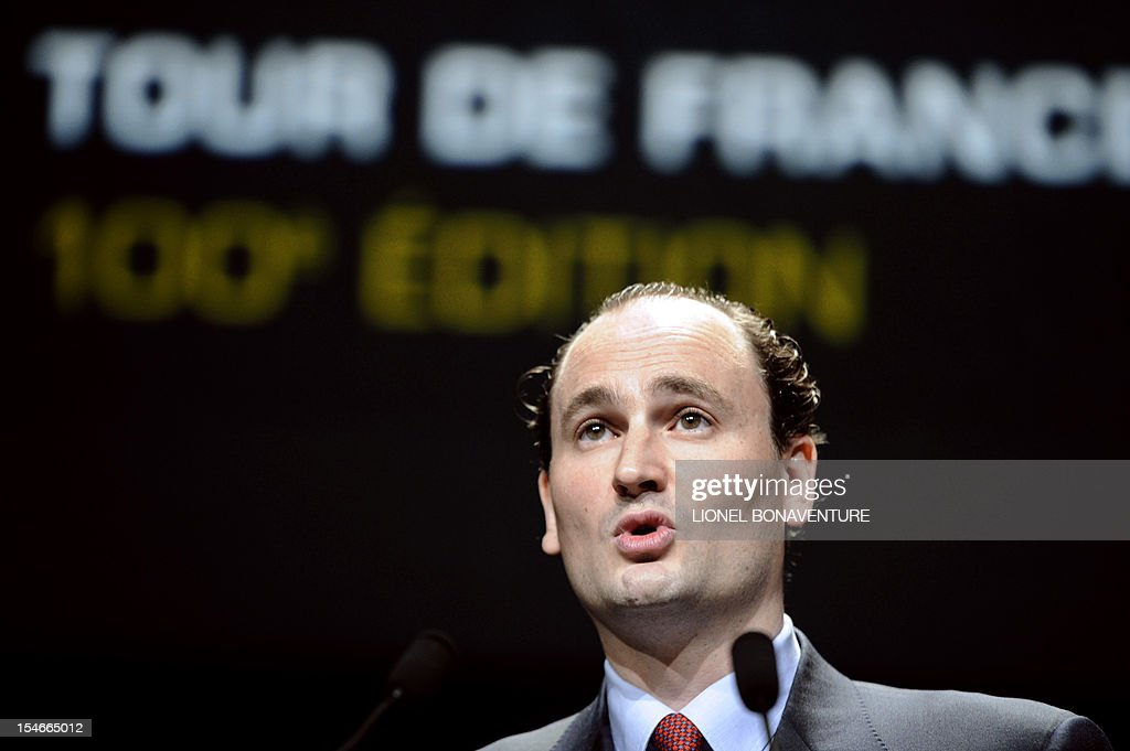 President of the Tour de France's parent company Amaury Sports Organisation (ASO), Jean-Etienne Amaury speaks during a press conference to unveil the 2013 cycling classic Tour de France route on October 24, 2012 in Paris. The 100th edition of the Tour will take place from June 29 to July 21 and will start in Corsica for the first time in its history. AFP PHOTO LIONEL BONAVENTURE