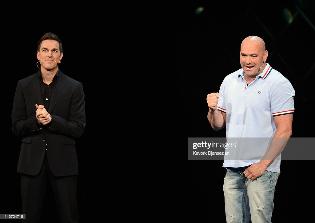 President of the Ultimate Fighting Championship (UFC) <a gi-track='captionPersonalityLinkClicked' href=/galleries/search?phrase=Dana+White&family=editorial&specificpeople=977217 ng-click='$event.stopPropagation()'>Dana White</a> (L) and Executive Vice President, EA Sports Andrew Wilson announces a new partnership during the EA Sports press conference at the Electronic Entertainment Expo at the Galen Center on June 4, 2012 in Los Angeles, California. Thousands are expected to attend the annual three-day convention to see the latest games and announcements from the gaming industry.