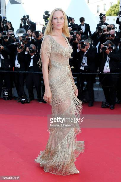 President of the Un Certain Regard jury Uma Thurman attends the Closing Ceremony during the 70th annual Cannes Film Festival at Palais des Festivals...