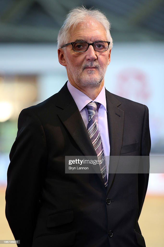 President of the Union Cycliste Internationale, <a gi-track='captionPersonalityLinkClicked' href=/galleries/search?phrase=Brian+Cookson&family=editorial&specificpeople=8909757 ng-click='$event.stopPropagation()'>Brian Cookson</a> OBE, looks on as he awaits a podium ceremony on day three of the UCI Track Cycling World Cup at Manchester Velodrome on November 3, 2013 in Manchester, England.