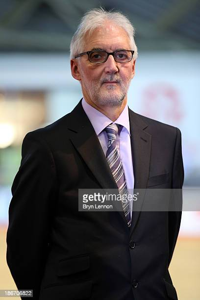 President of the Union Cycliste Internationale Brian Cookson OBE looks on as he awaits a podium ceremony on day three of the UCI Track Cycling World...
