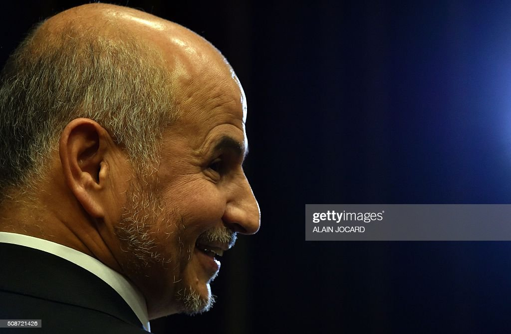 President of the Union of Islamic Organisations of France (UOIF) Amar Lasfar, is pictured during the UOIF symposium, on February, 6, 2016, in Paris. / AFP / ALAIN JOCARD