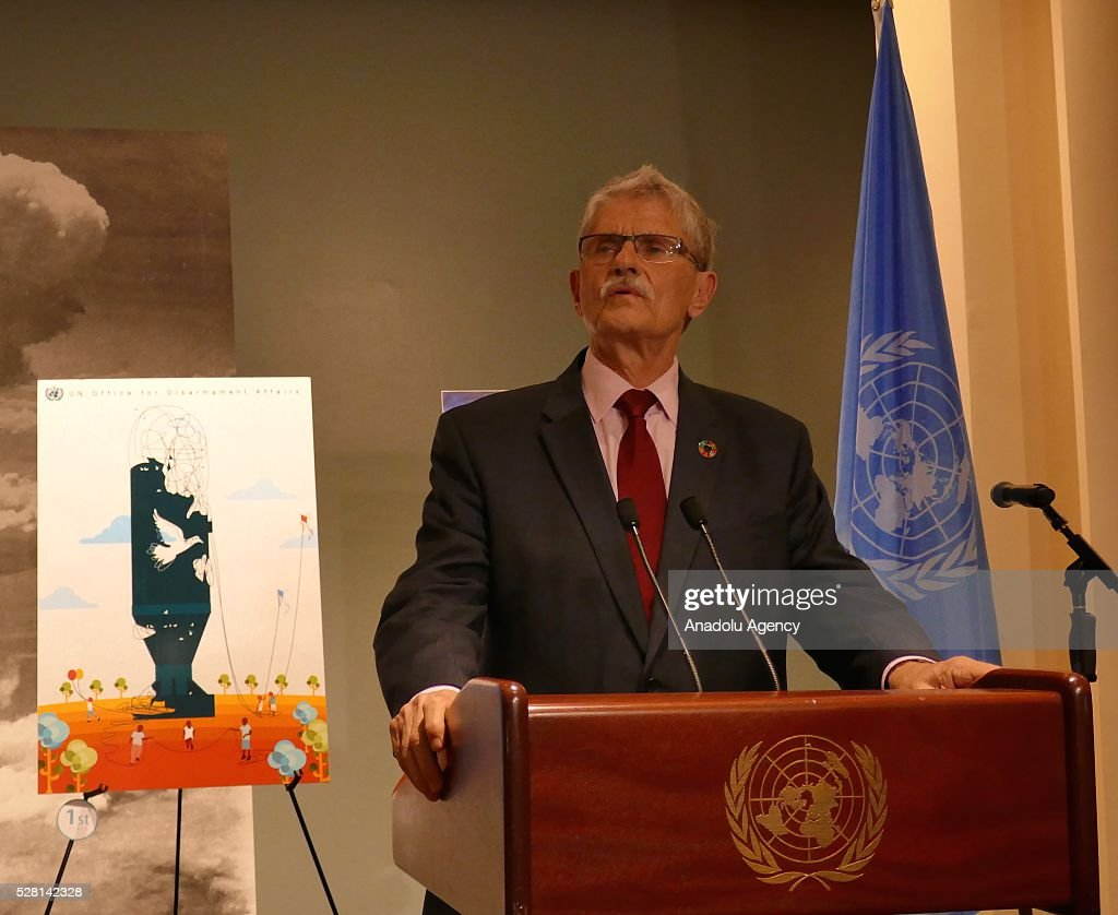 President of the United Nations General Assembly Mogens Lykketoft delivers a speech and congratulates the winners of 'Disarmament Poster for Peace' competition, organized by United Nations Disarmament Department during a reception held for ranking the highest competitors, at United Nations Office in New York, USA on May 4, 2016.